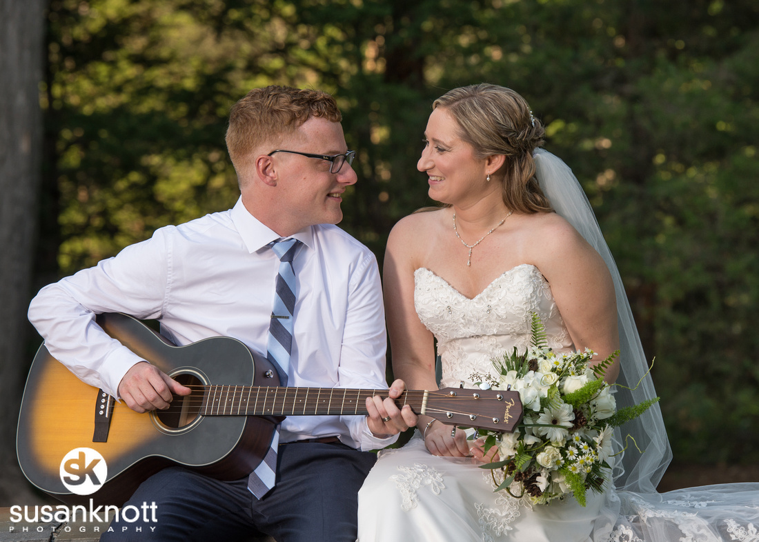 """Schenectady weddings"", ""Wedding photos, Schenectady, NY"", ""Wedding portraits"", ""Bride and groom with guitar"", ""Wedding Portrait"""