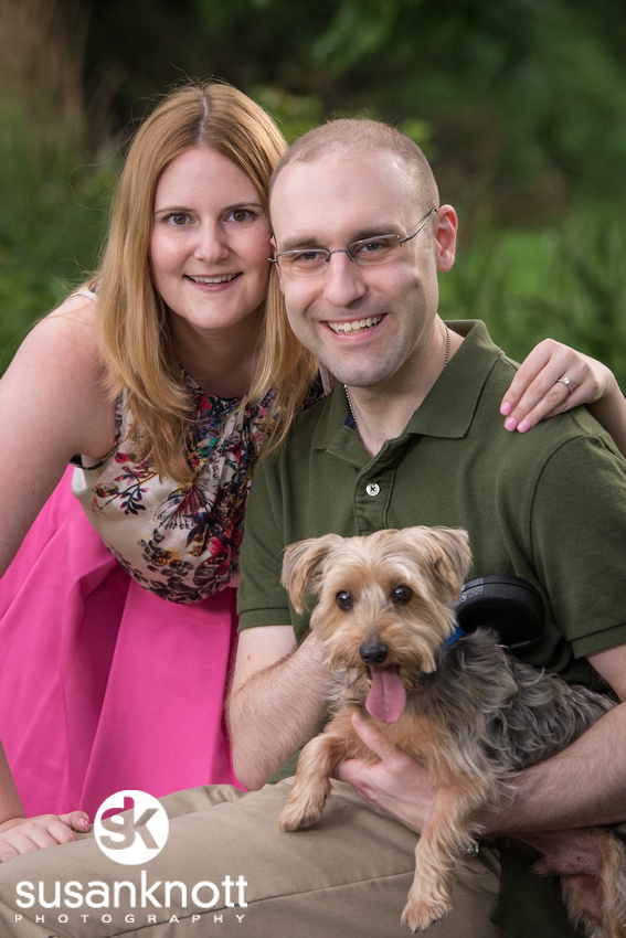 """Wedding Engagement photographer, Saratoga Springs"", ""Wedding photos"", ""Engaged couple"", ""Engagement photo with dog"""