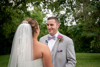 Groom's first look at his bride at Century House, Latham, NY