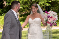 Groom's first look at bride at Jackson Garden at Union College, Schenectady, NY